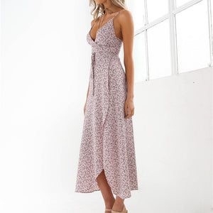 Elegant Spaghtetti Floral High Thigh Split Midi Dress