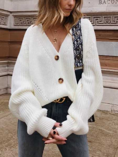 Chunky Oversized Big V Neck Button Up College Sweater For