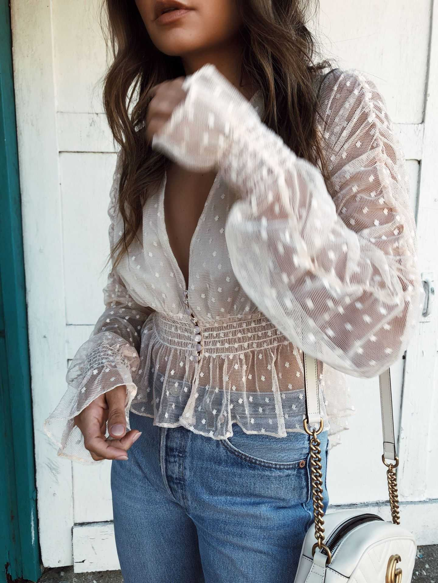 Dotted Tie Front Plunge White Sheer Mesh Lace Peplum Top Blouse