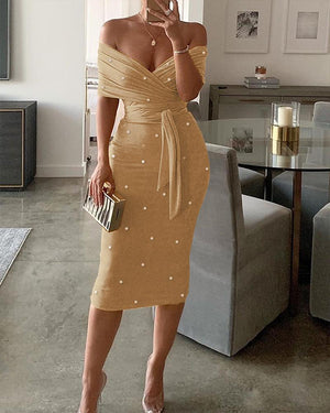 Retro Pearls Embellished Off The Shoulder Bandage Dress