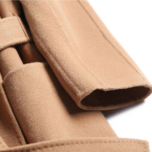 Free Shipping Camel Cashmere long Wool Trench Coat Womens