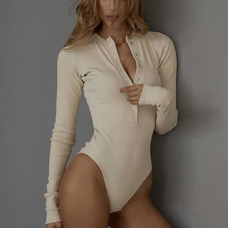 Snap Ribbed High Leg Long Sleeve Bodysuit