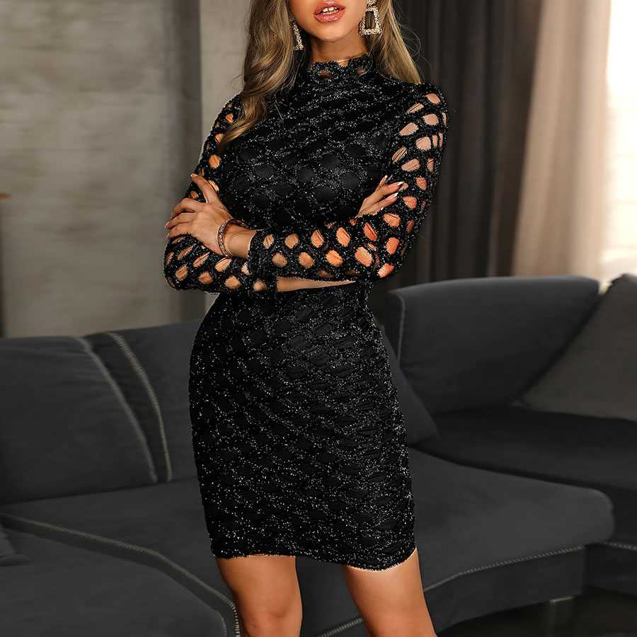 Sexy Mesh Long Sleeve Black Sequin Bodycon Mini Party Dress