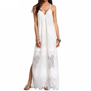 Vacation Spaghetti Strap Mesh Lace Side Split Maxi Beach Dresses Cover Ups