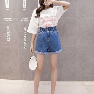 Boyfriend High Waisted Cuffed Paperbag Waist Denim Shorts