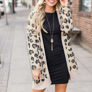 Retro Leopard Spotted Prints Oversized Comfy Long Cardigan Sweaters