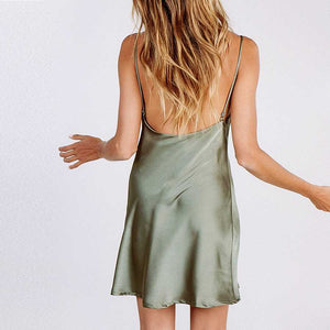 Cute Solid Color Cowl Neck Satin Slip Mini Dress Low Back
