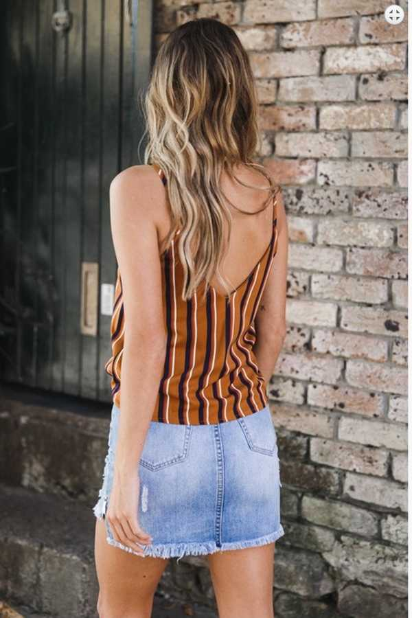 Slimming V Cut Back Striped Button Up Tank Top Shirt