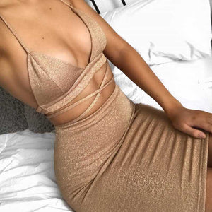 Two Piece Cami Bodycon Dress High Waisted