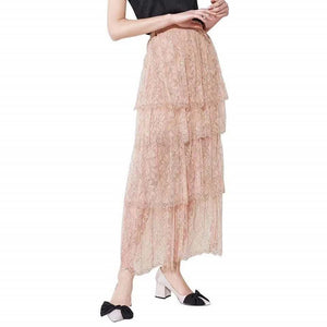 Classy Elastic Waistband Multi Layered Floral Tiered Lace Tulle Midi Skirt