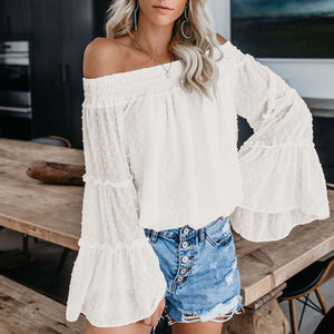 Embellished Polka Dots Oversized Chiffon off The Shoulder Tops long Puff Sleeve