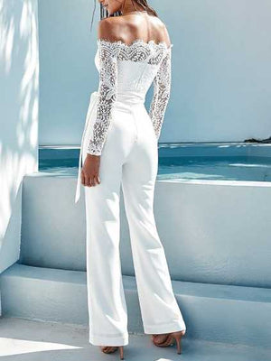 Cozy Lace Off The Shoulder Tie Jumpsuit Pantsuits