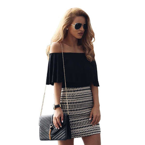 Free Ship Off Shoulder Flounce Layered Mini Dress