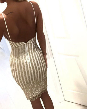 Sparkle Striped Sequins Low Back Spaghetti Cami Dress