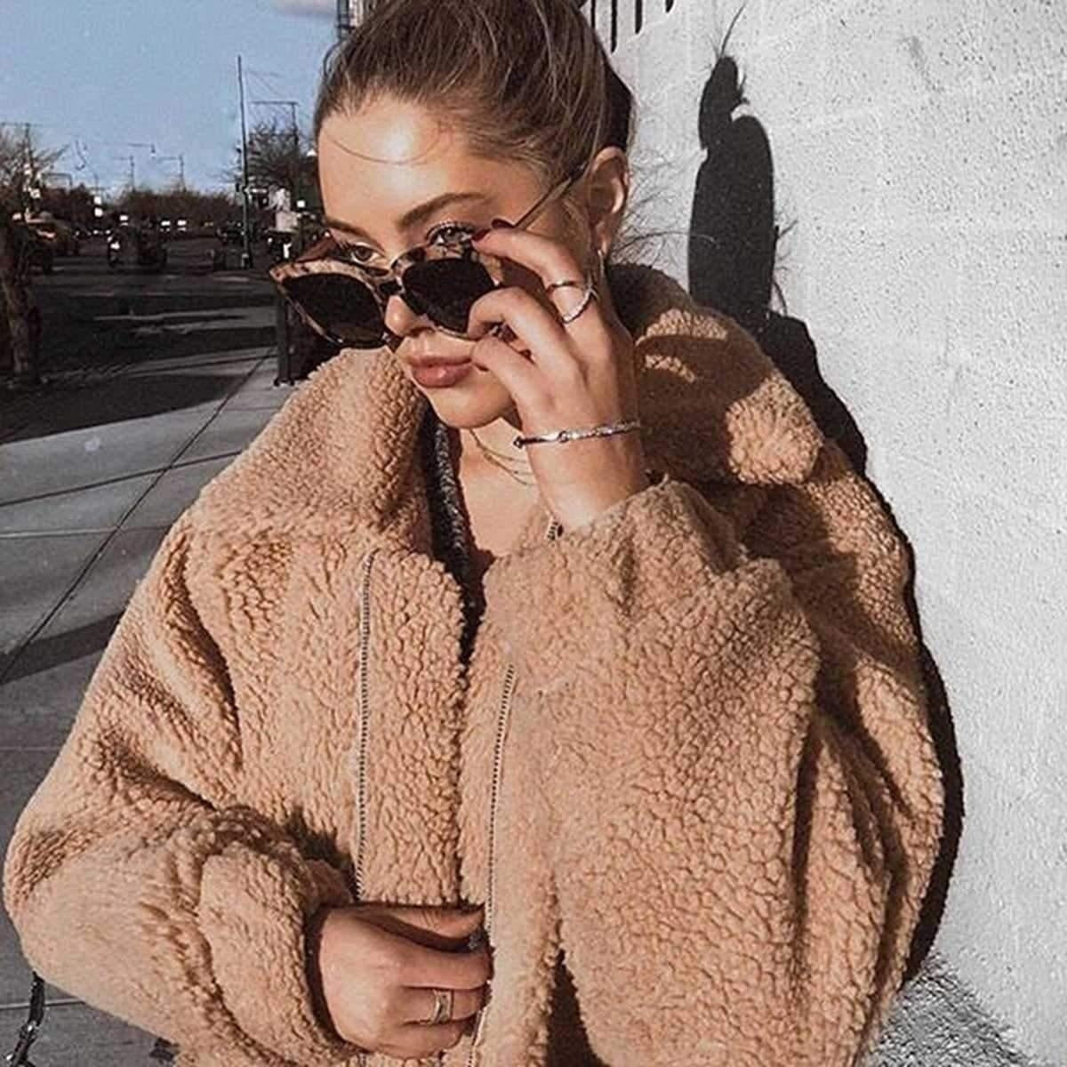 Oversized Faux Fur Teddy Bear Sherpa Coat