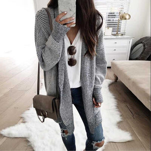 Oversized Black White Checkered Long Cardigan Sweater Sunifty