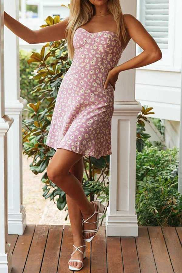 Slimming Retro Style Ditsy Lilac Floral A line Short Dress