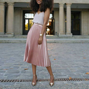 Classic Flowy Chiffon Pleated Midi Skirt Long Length