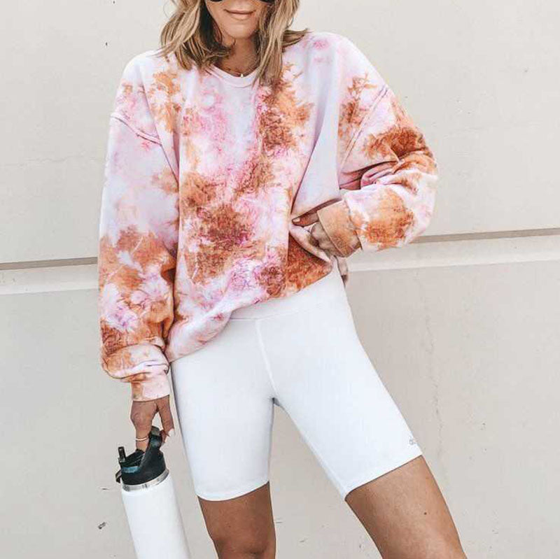 Thick Fashionable Pastel Pullover Tie Dye Sweatshirt Top