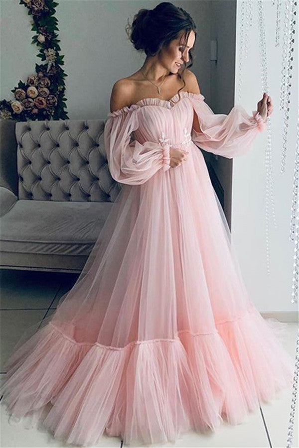 Formal Ruffle Off The Shoulder Mesh Overlay Tulle Ball Gown