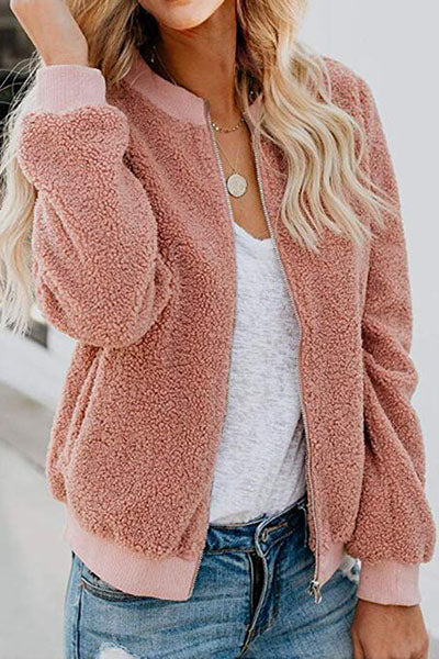 Casual Chubby Teddy Bear Sherpa Bomber College Baseball Jacket