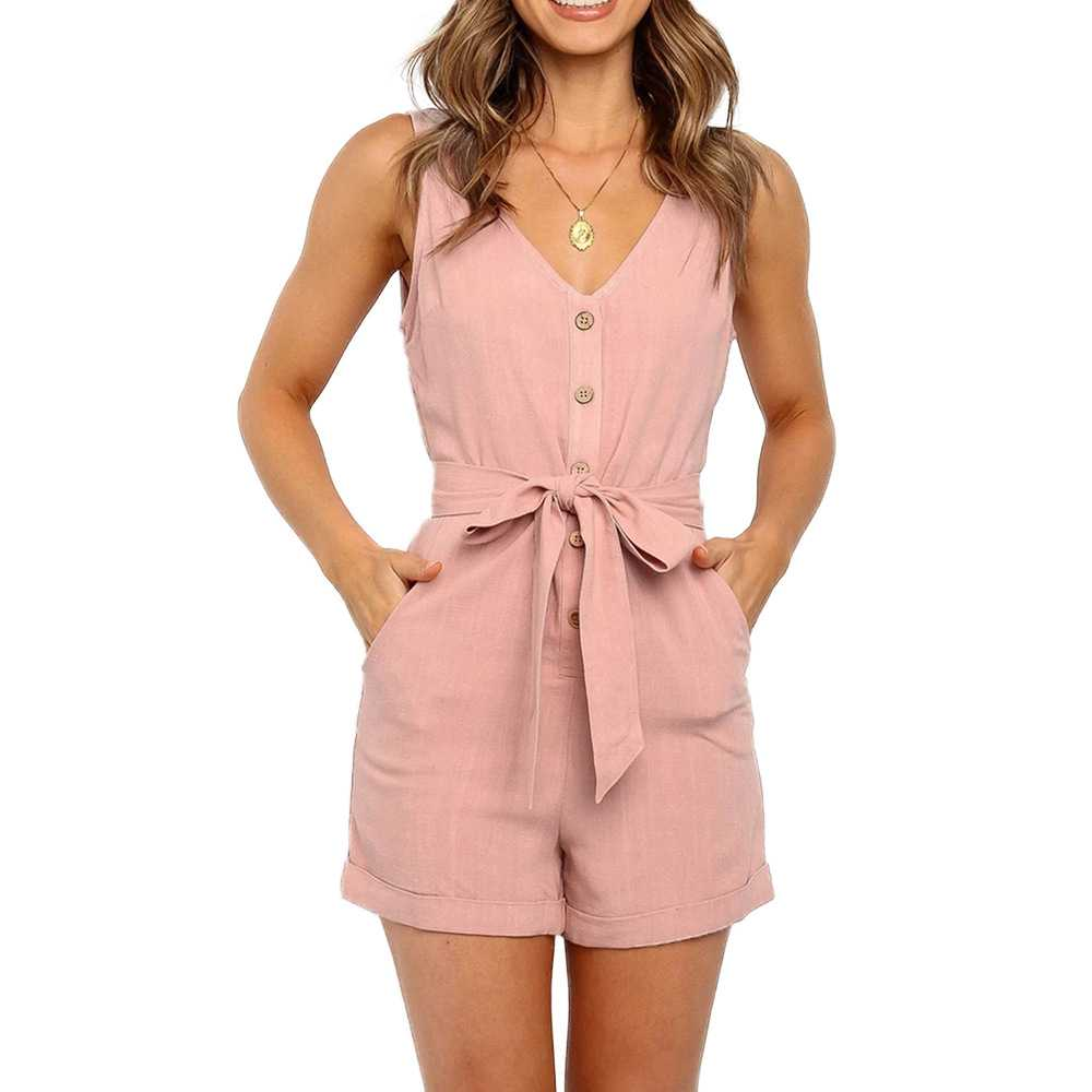 V Neck Button Up Jumpsuit Romper Shorts For Big Thighs