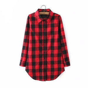Vintage Overszied Red Black Plaid Flannel Tee Shirt Button Up