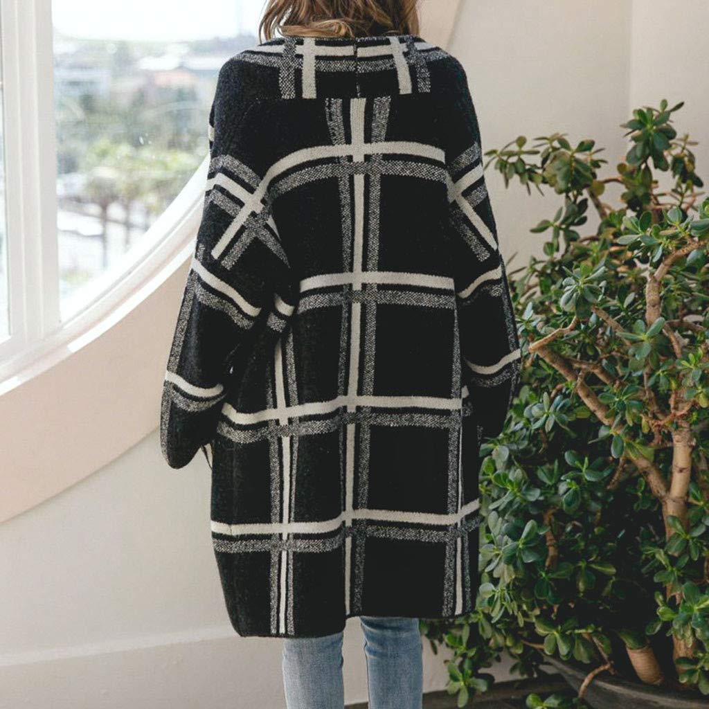 Packable Black White Big Checke Long Cardigan Sweater Tweed Longline Cardigan Coat