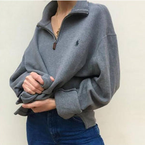 Oversized Polo Sweater Half Zip Polo neck pullover Jumper