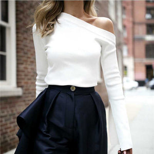 Classic White One Shoulder Tee Shirt Top