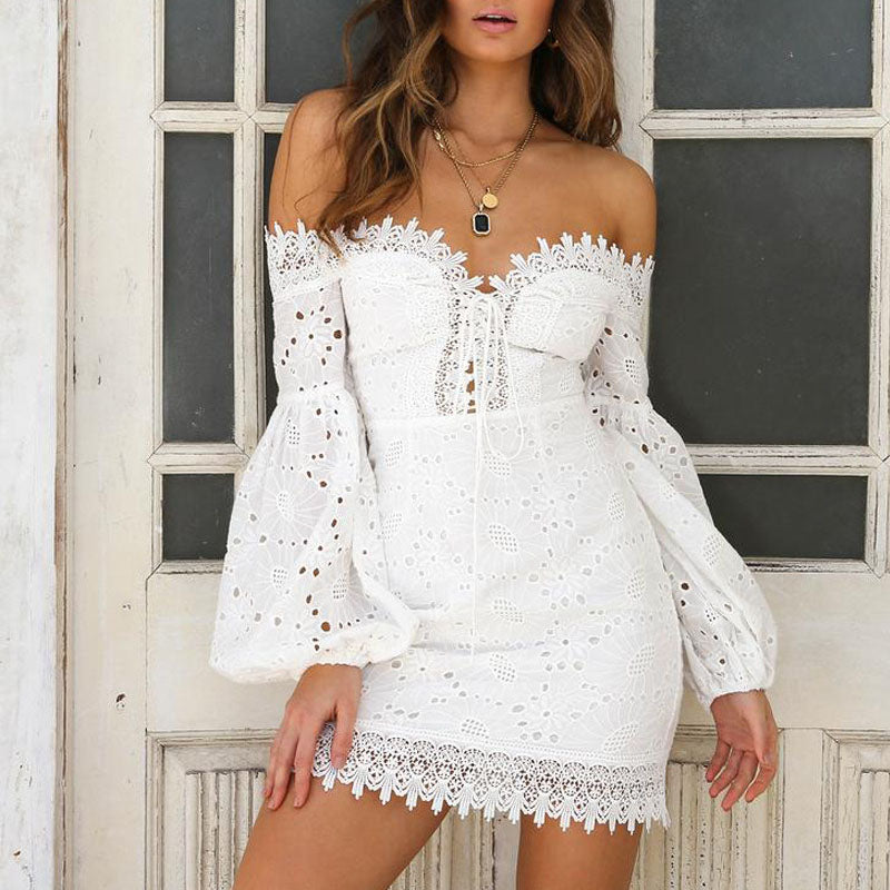 Eyelet Cotton Front Lace Up Off The Shoulder Bodycon Dress