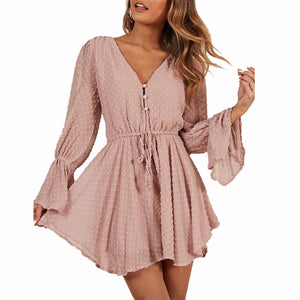3d Embroidery Chiffon Short Jumpsuit Long Sleeve Romper Shorts
