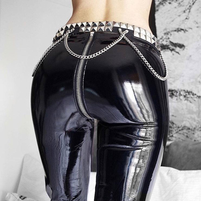 High Waisted Faux Leather Zipper glossy leather Skinny pants