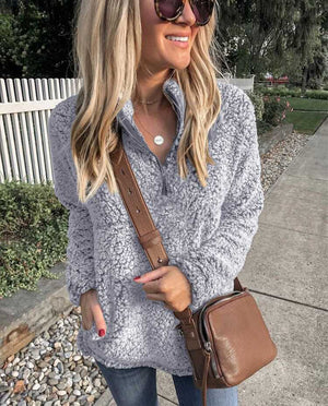 Faux Fur Sherpa Fleece Pullover Teddy Bear Sweatshirt