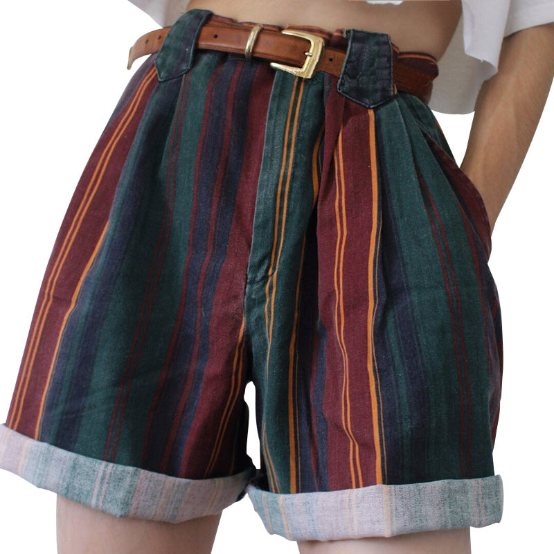 Rainbow Multi Colorful Striped High Waisted Cuffed Shorts