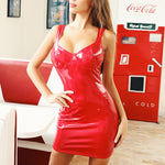 Glossy Sexy PU Faux Leather Bodycon Dress Party Wear