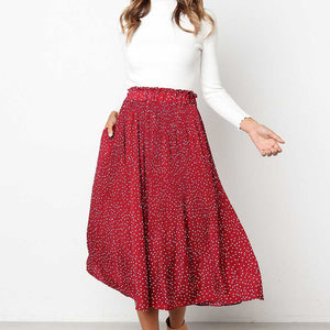 90s Fashion Retro Elastic Waist Long Pleated Flare Skirts