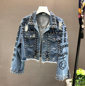 Fashion Street Rhinestone Studded Hand Graffiti Ripped Cropped Denim Jacket