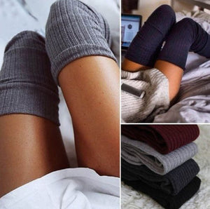 Cozy Slimming Ribbed Knit Over Winter High Knee Socks Stockings