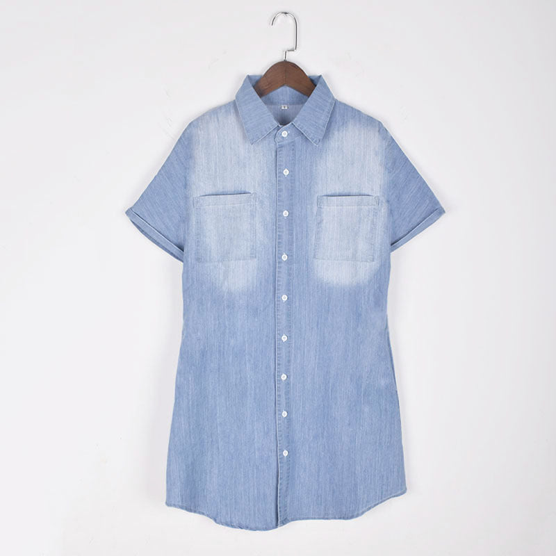 Casual Button Up Denim T-Shirt Dress