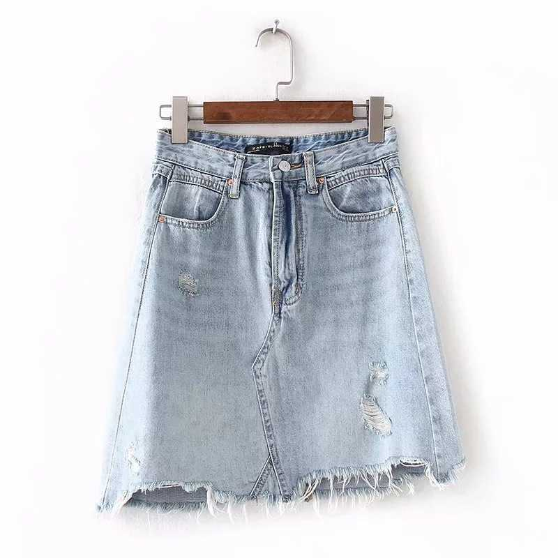 Vintage Washed Distressed Notched Light Denim Mini Skirt