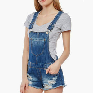 Wardrobe Basics Ripped Denim Romper Shorts Jean overalls