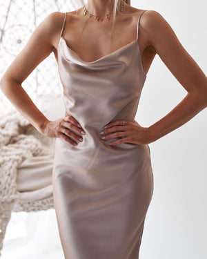 Cute Solid Color Cowl Neck Slip Long Satin Dress Low Back