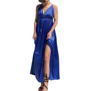 Strappy Criss Cross Thigh High Split Maxi Dress Backless