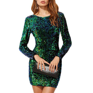 Sparkly Sequin Embellished Long Sleeve Sheath Cocktail Dress