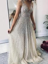 Sparklely Formal Long Silver Sequin Gown Maxi Dresses