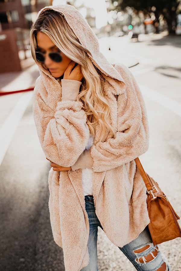 Fur Lined Faux Fur Fuzzy Long Hooded Cardigan With Pockets