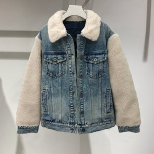 Color Block Patchwork Faux Fur Borg Sherpa Denim Jacket with Fur Collar