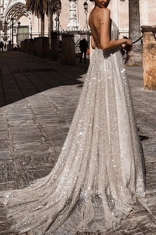 Sparkly Plunge Sequin Mesh Overlay Long Backless Prom Gown Dresses