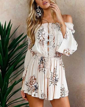 3fdfc569b40d Boho Front Tie Waist Off Shoulder Floral Romper Dress – sunifty
